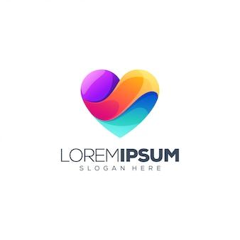 Design de logotipo colorido coração