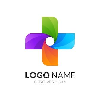Design de logotipo colorido da cross medic ou logotipo multicolorido da hélice