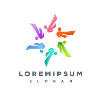 Design de logotipo colorido da equipe de pessoas