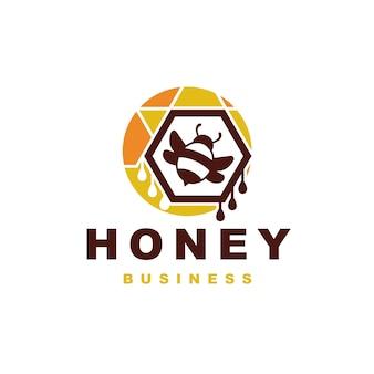Design de logotipo colorido de abelha de mel
