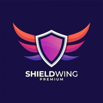 Design de logotipo colorido de asa de escudo