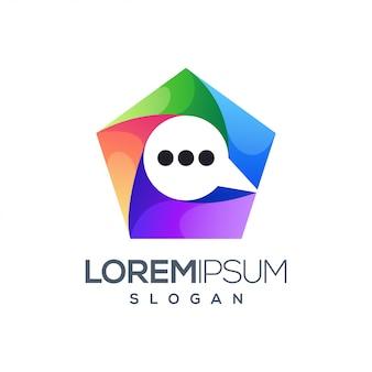 Design de logotipo colorido de bate-papo de ícone