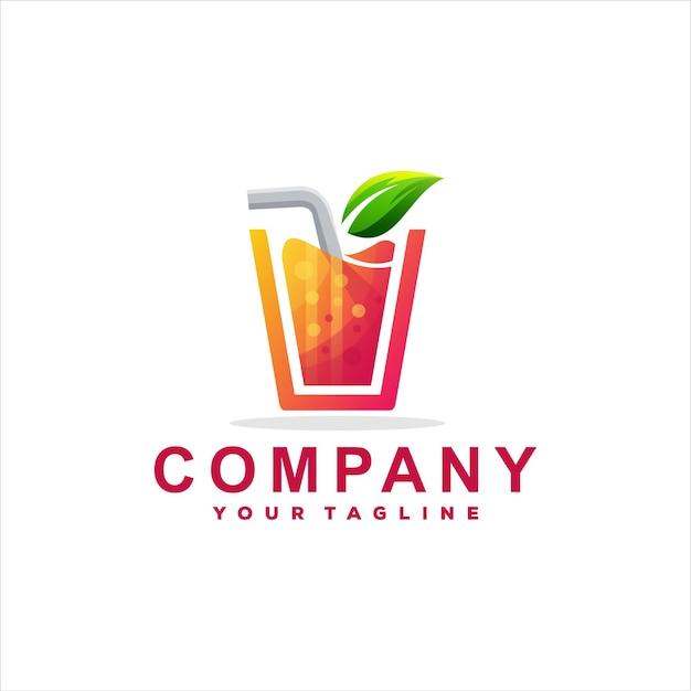 Design de logotipo colorido de bebida de suco