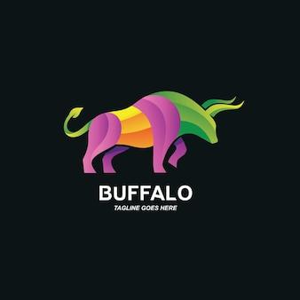 Design de logotipo colorido de búfalo