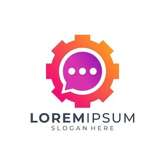 Design de logotipo colorido de engrenagem de bate-papo