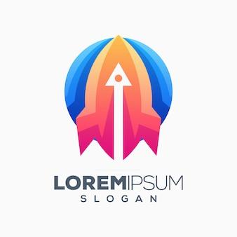 Design de logotipo colorido de foguete