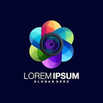 Design de logotipo colorido de lente de câmera