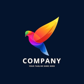 Design de logotipo colorido de pássaro
