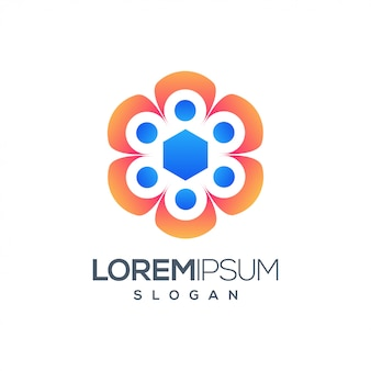 Design de logotipo colorido de pessoas hexágono