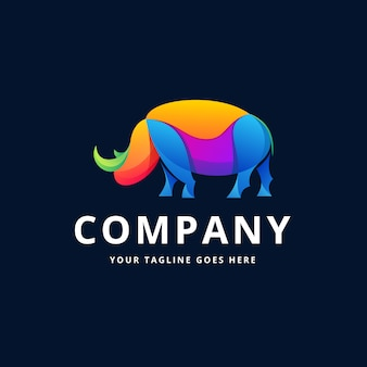Design de logotipo colorido de rinoceronte