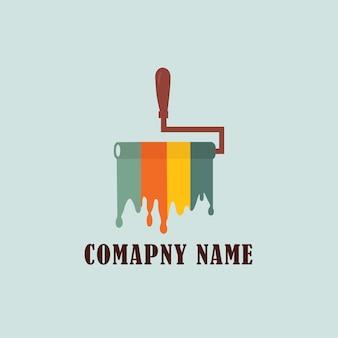 Design de logotipo colorido de rolo de pintura