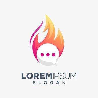 Design de logotipo colorido do chat de fogo