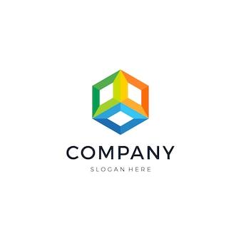 Design de logotipo colorido do hexágono