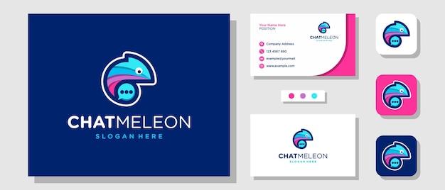 Design de logotipo colorido e bonito camaleão bolha bate-papo com modelo de layout de cartão de visita