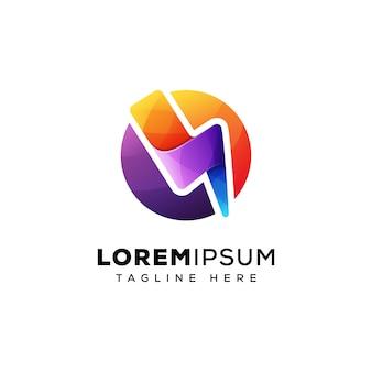 Design de logotipo colorido energia trovão