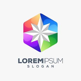 Design de logotipo colorido estrela hexágono