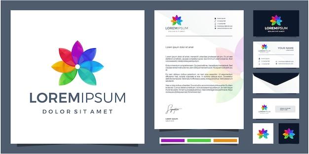 Design de logotipo colorido flor + folha com design de papelaria