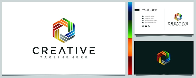 Design de logotipo colorido geométrico abstrato e cartão de visita