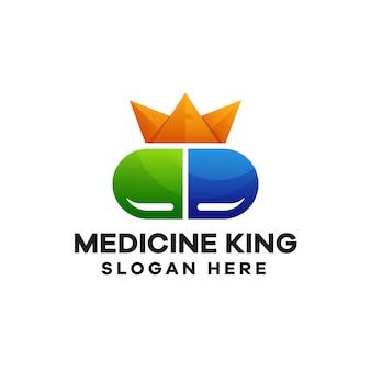 Design de logotipo colorido gradiente king da medicina