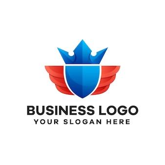 Design de logotipo colorido gradiente royal shield