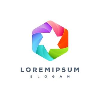 Design de logotipo colorido hexa