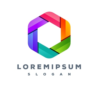 Design de logotipo colorido hexágono pronto para uso