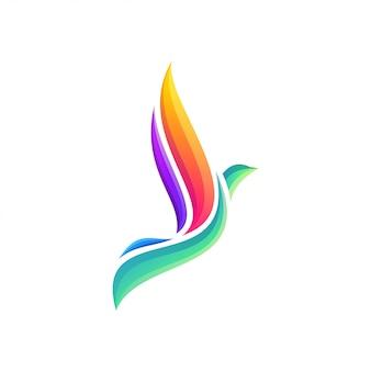 Design de logotipo colorido impressionante pássaro voador