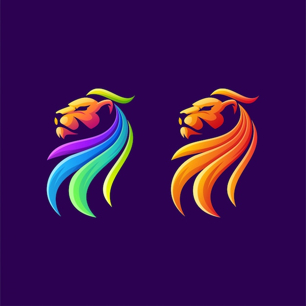 Design de logotipo colorido leão