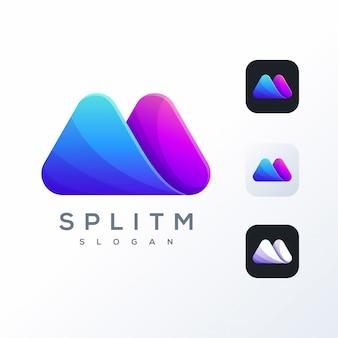 Design de logotipo colorido m pronto para uso
