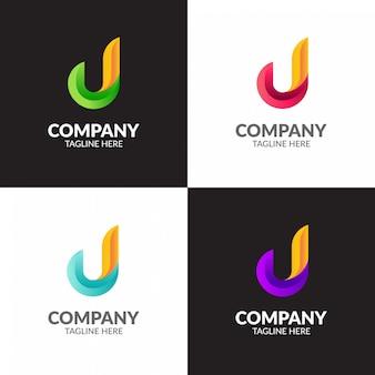 Design de logotipo colorido minimalista com letra j