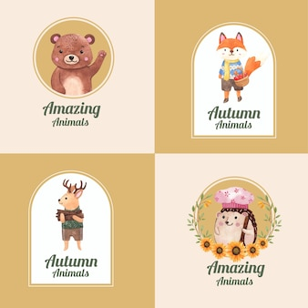 Design de logotipo com animal de outono em estilo aquarela
