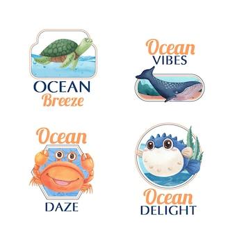 Design de logotipo com conceito de encantamento com o oceano e estilo aquarela