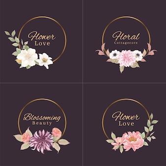 Design de logotipo com conceito de flores cottagecore, estilo aquarela