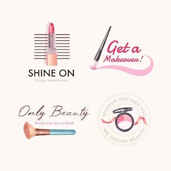Design de logotipo com conceito de maquiagem para aquarela de branding e marketing.