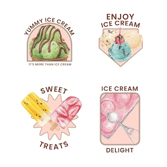Design de logotipo com conceito de sabor de sorvete, estilo aquarela