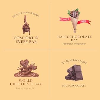 Design de logotipo com conceito do dia mundial do chocolate