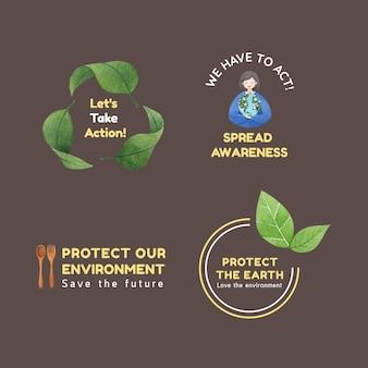 Design de logotipo com conceito do dia mundial do meio ambiente, estilo aquarela