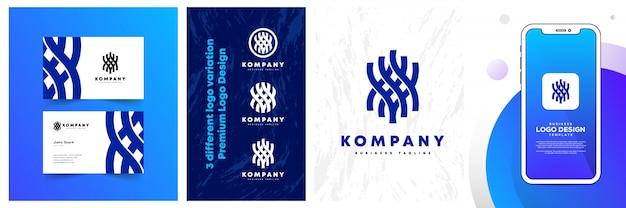 Design de logotipo com cordas minimalistas amarradas com maquete de telefone de aplicativo vetorial