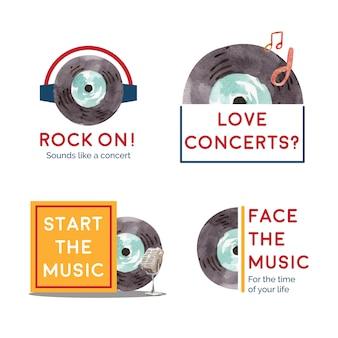 Design de logotipo com design de conceito de festival de música para branding e marketing ilustração vetorial aquarela
