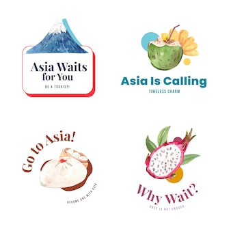 Design de logotipo com design de conceito de viagem na ásia para ilustração vetorial aquarela de branding e marketing