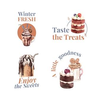 Design de logotipo com doces de inverno em estilo aquarela