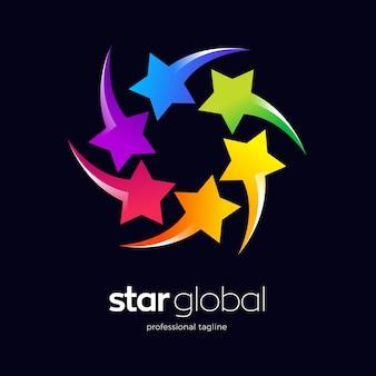 Design de logotipo com estrelas coloridas