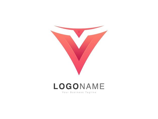 Design de logotipo com letras v iniciais em estilo gradiente moderno