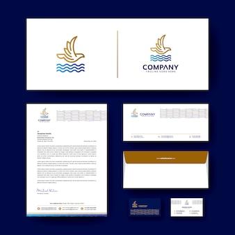 Design de logotipo com modelo de design de identidade corporativa editável