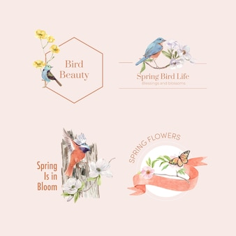 Design de logotipo com pássaros e conceito de primavera