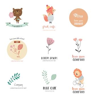 Design de logotipo com urso, raposa, leão, folha e flor