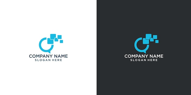 Design de logotipo conectar-se, comunicar-se facilmente