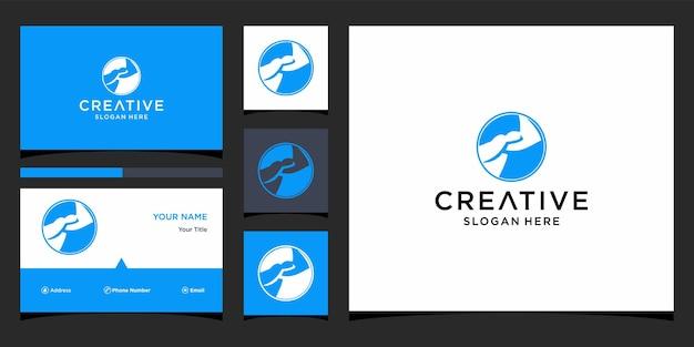 Design de logotipo conjunto de mão com modelo de cartão de visita