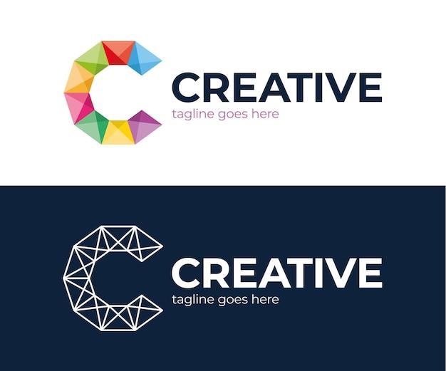 Design de logotipo corporativo letra c comercial.