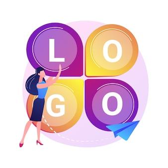 Design de logotipo. criação de slogan da empresa, marca corporativa, identidade. personagem plana do designer gráfico pesquisando a ideia do logotipo competitivo.